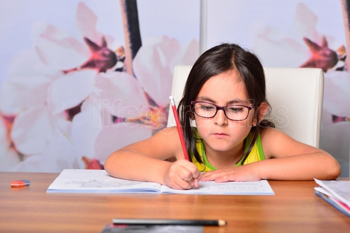 Little cute girl doing homework