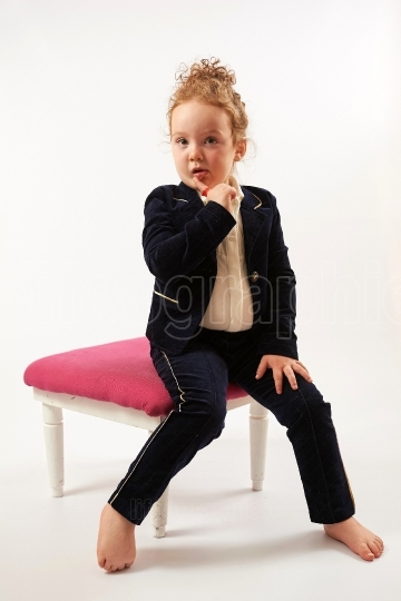 Little Girl Fashion Model in Black Suit