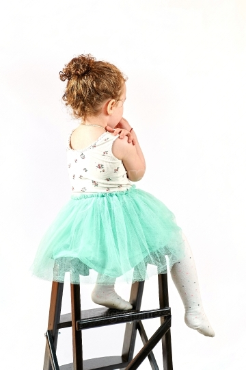 Little Girl Fashion Model in Green Dress