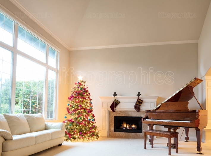 Living room decorated with Christmas tree and hanging stockings