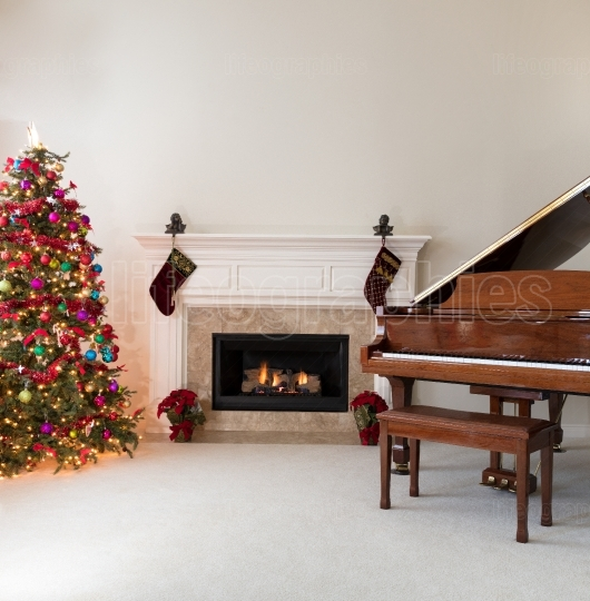 Living room with burning fireplace decorated for Christmas seaso