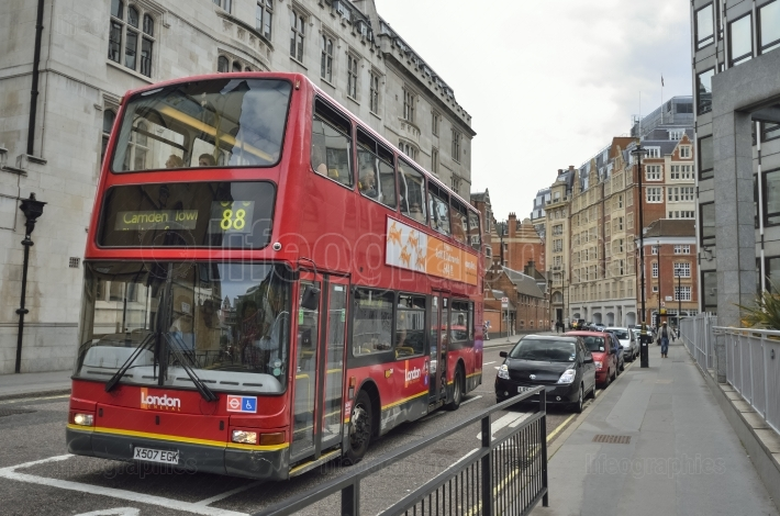 London Bus travelling a London Route