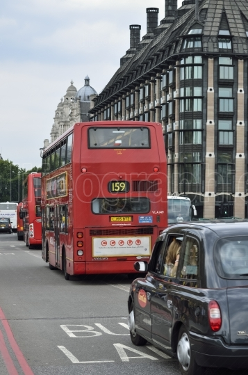 London Bus travelling a London Route.