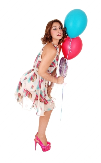 Lovely woman with two balloons.