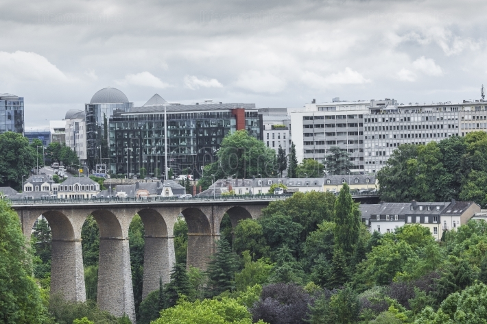 LUXEMBOURG CITY - LUXEMBOURG - JULY 01, 2016: Modern part of Lux