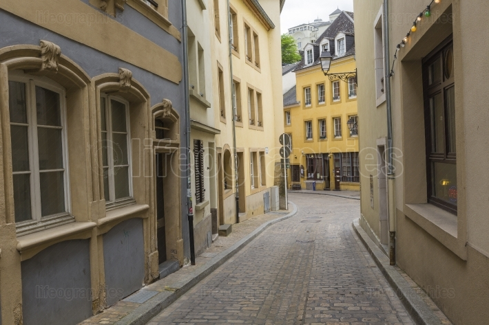 LUXEMBOURG CITY - LUXEMBOURG - JUNE 30, 2016: Narrow medieval st