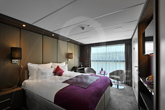 Luxurious interior of matrimonial room on ship