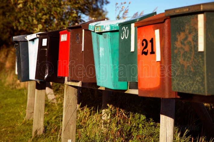 Mailboxes on line in varying condition