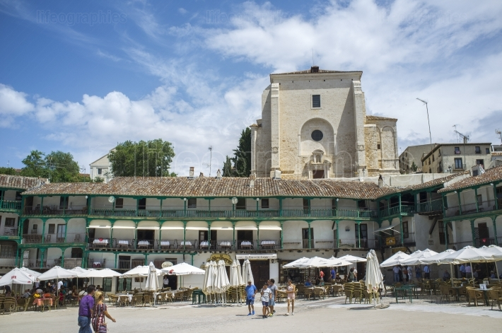 Main square and church, Chinchon, Spain