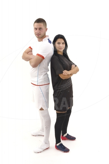 Male and female soccer players isolated on white background