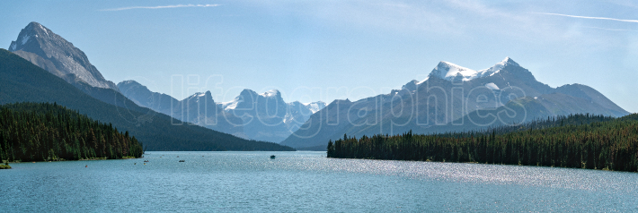 Maligne Lake close to Jasper with early morning mood, Alberta, C