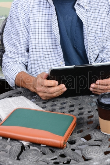 Man At Outdoor Internet Cafe