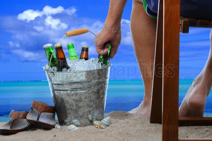 Man at the Beach with a Bucket of Beer