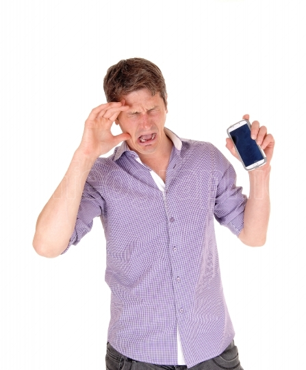 Man crying for broken phone.