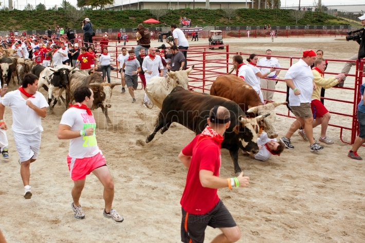 Man Gets Trampled By Two Steers While Running With Bulls