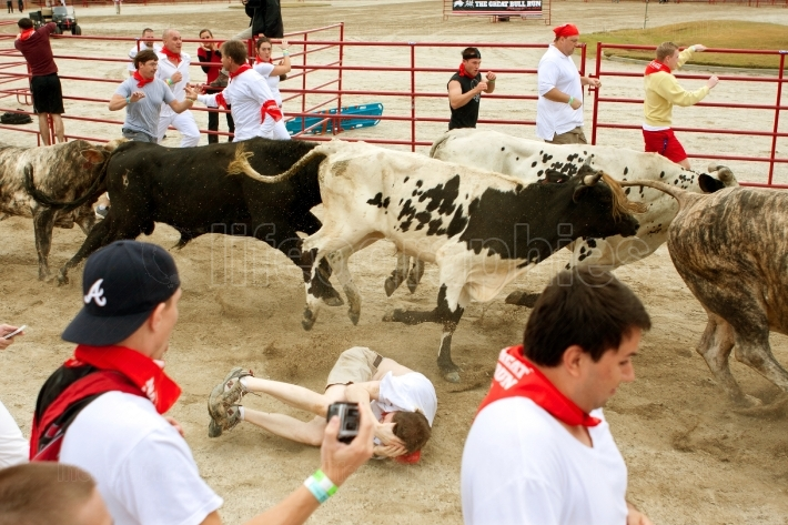 Man Lies In Fetal Position After Being Trampled By Bulls