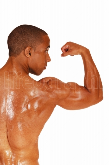 Man showing his biceps