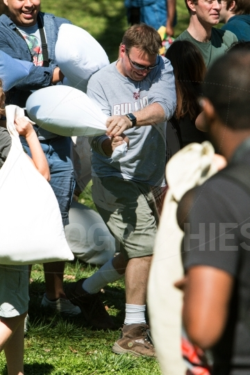 Man Takes Part In Atlanta International Pillow Fight Day