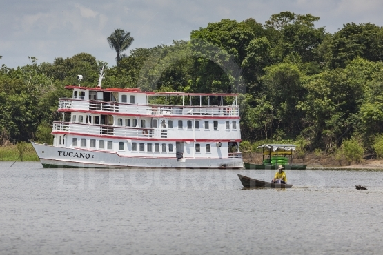 Manaus, brazil, october 17  typical wooden white amazon boat sai