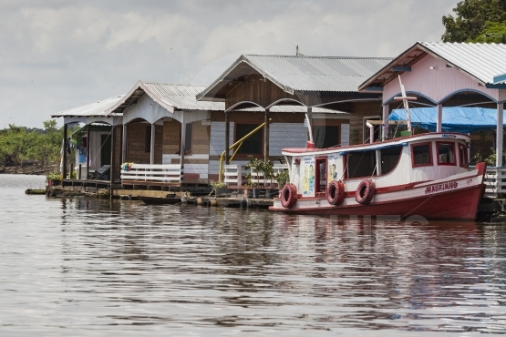 Manaus, brazil, october 17  typical wooden wooden houses on rio