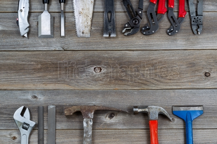 Many Work Tools on Wood