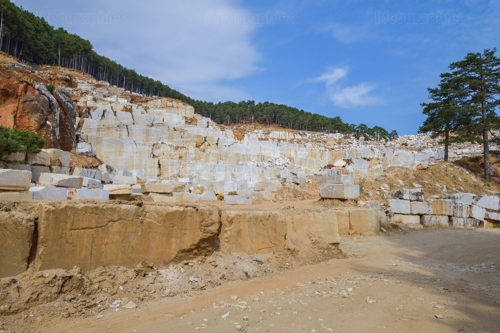 Marble quarry in thassos island, greece