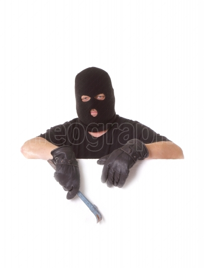 Masked man with crowbar