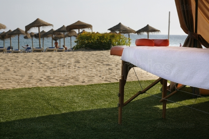 Massage table beside the beach
