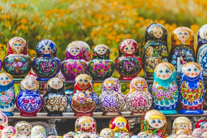 Matryoshkas in souvenir shop in riga, latvia.