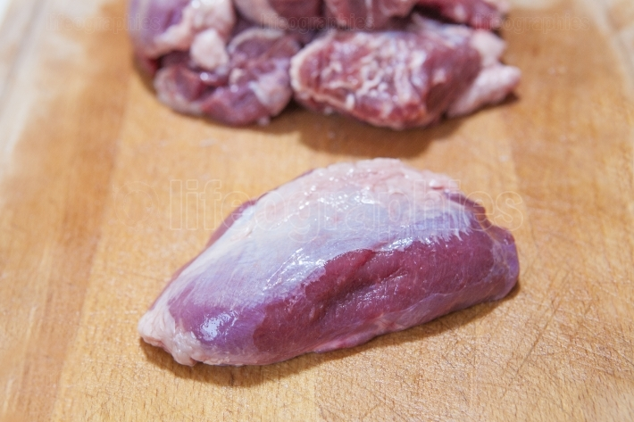 Meat cheek pieces of iberian pig