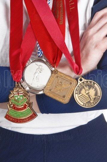 Medals from softball competition