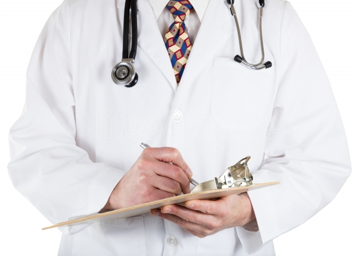 Medical doctor holding clip board and pen