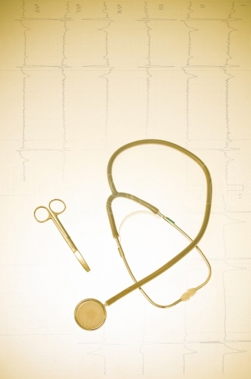 Medical instruments and ekg background