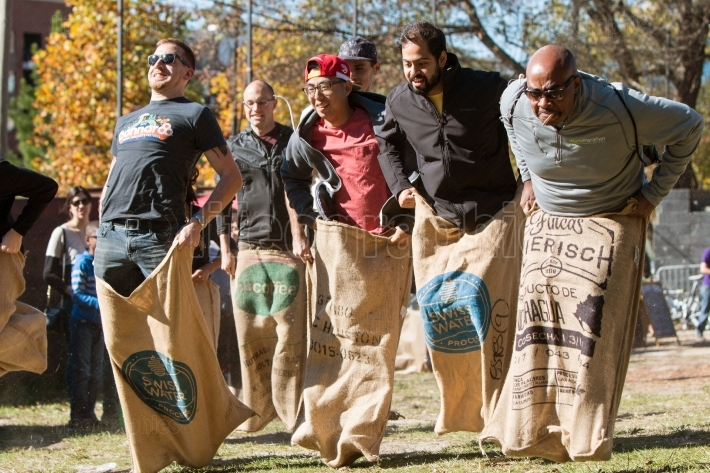 Men Compete In Old Fashioned Sack Race At Atlanta Festival
