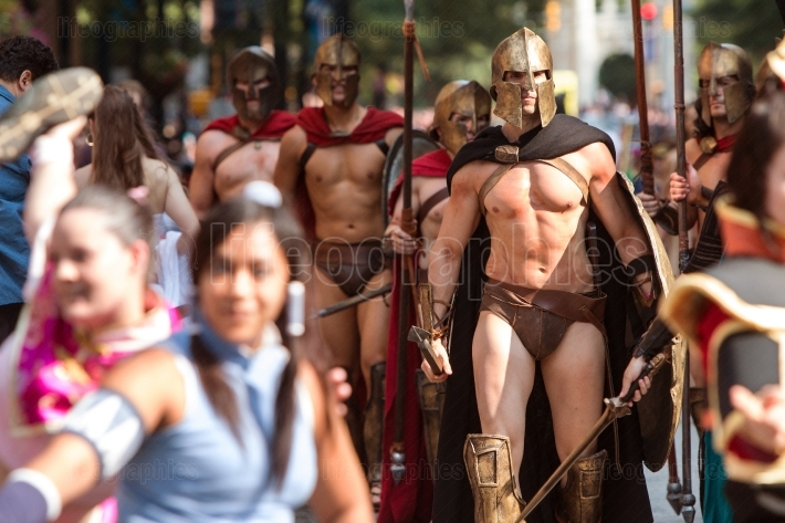 Men Dressed Like Spartan Warriors Walk In Dragon Con Parade