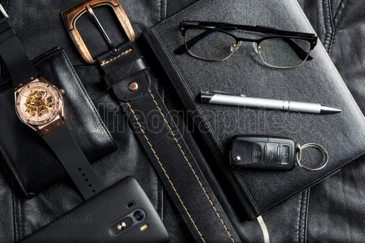 Men's accessories with wallet belt pen car keys glasses smartpho