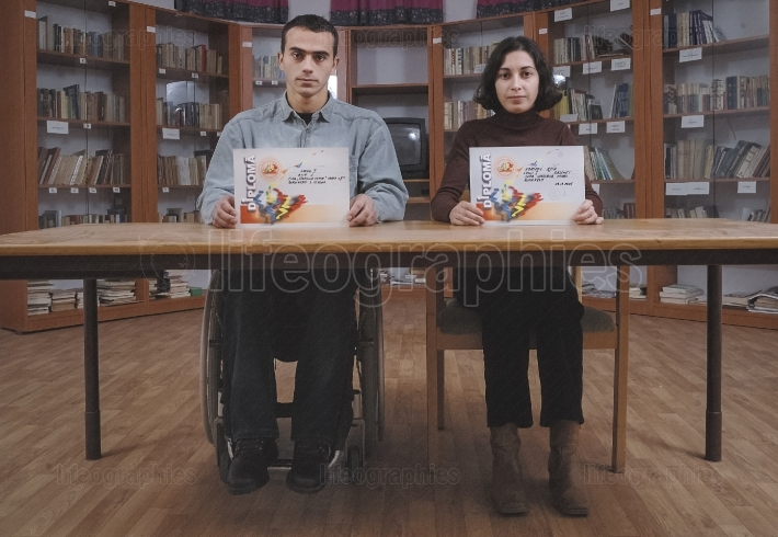 Metaphoric picture about equality education between people with disabilities and people without disabilities