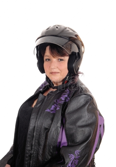 Middle age woman with helmet and jacket