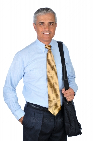 Middle aged Businessman with computer bag