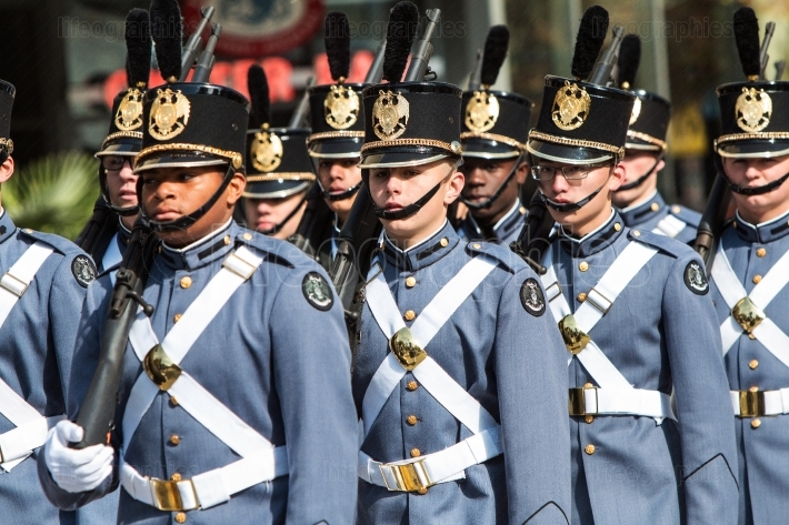 Military Academy Cadets March In Formation At Veterans Day Parade