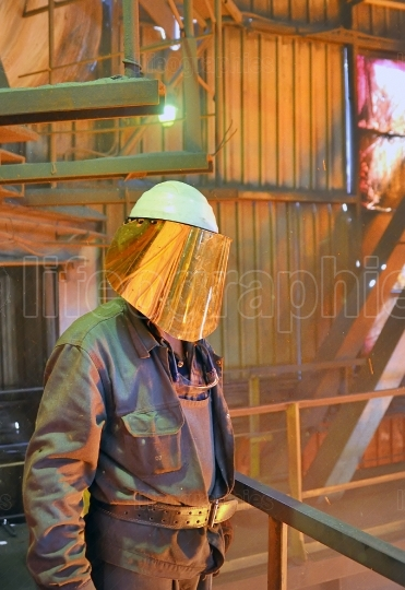 Mill worker in steel plant