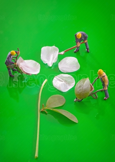 Miniature figures working to create spring flower