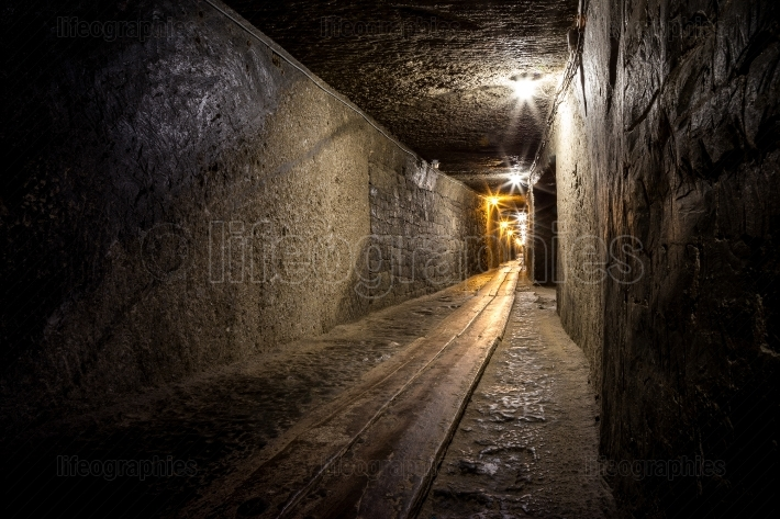 Mining tunnel in a salt mine
