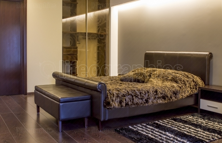 Modern leather bedroom interior