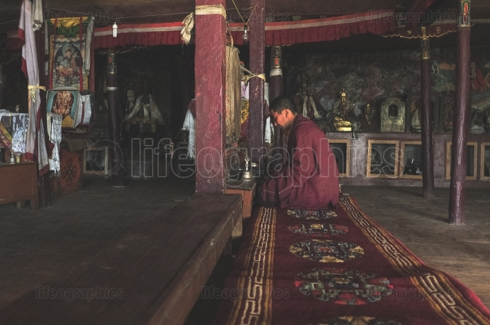 Monk from Korzokh monastery during meditation