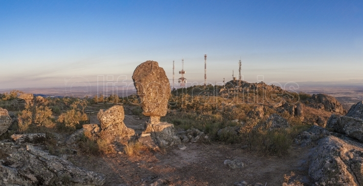Montanchez shifting stone Panoramic, Extremadura, Spain