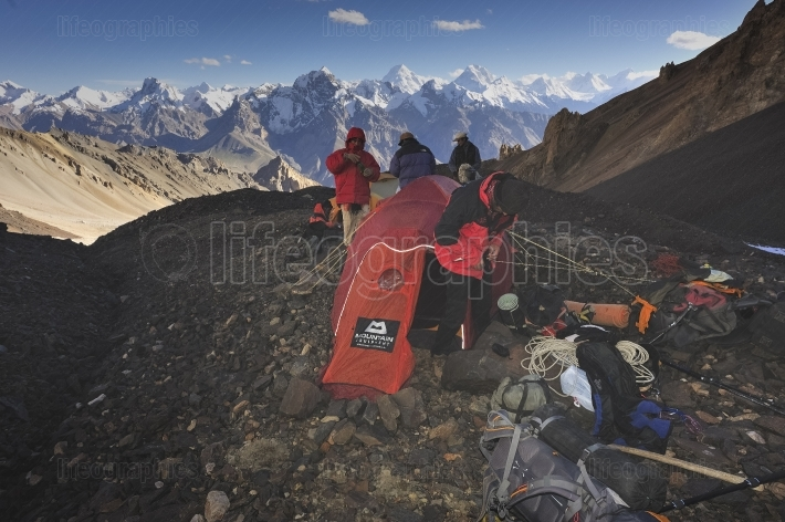 Morning setup from the glacier camp to climb Chashkin Sar unclimbed peak(6.400m)