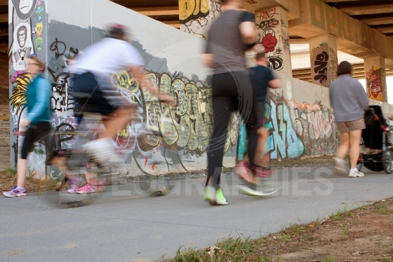 Motion Blur Of People Exercising Along Atlanta Beltline Urban Tr