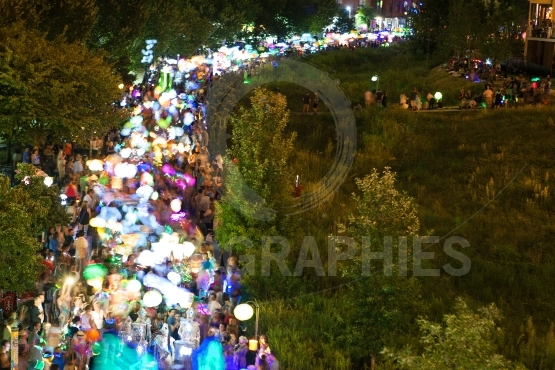 Motion Blur Shows Hundreds Of Colorful Lanterns In Atlanta Parad
