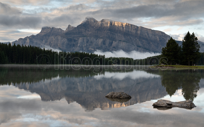 Mount Rundle and Two Jack Lake with early morning mood, Banff Na